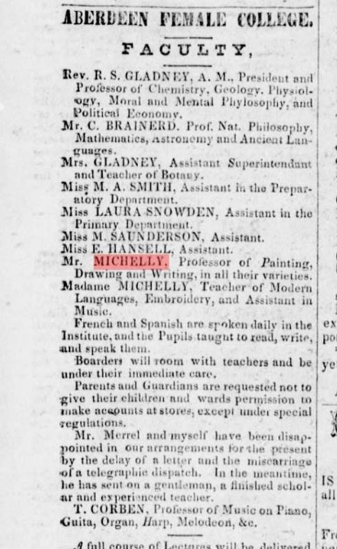 1850s Newspaper Notice for A. F. Michelly